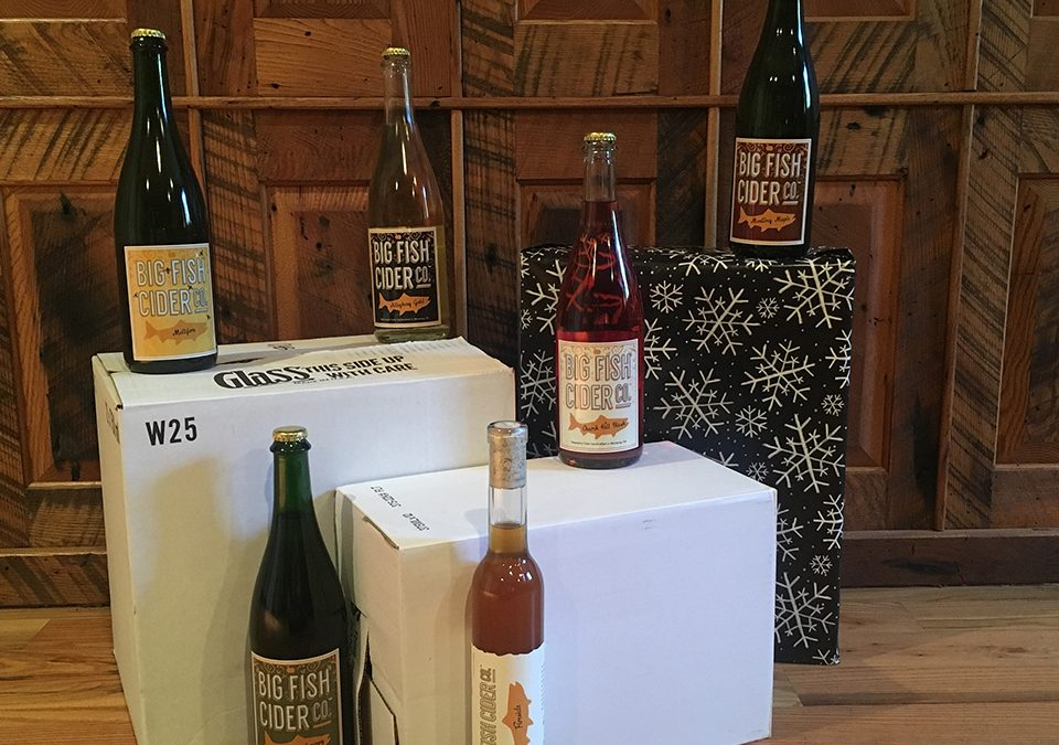 Featured: Bottles of Big Fish Cider on our shipping boxes